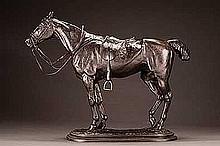 Good, John Willis - The Tired Hunter (head straight), Bronze, 14 x 18 x 5 3/4