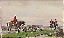Wells, John Sanderson - The Meet, Watercolor, 15 1/4 x 25 3/4