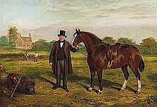 Lloyd, Edward - Mr. Ingram and his Cob, 'John of Gaunt', Oil on canvas, 25 x 36