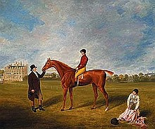 Douglas, William - The Marquis of Queensberry's Racehorse 'King David' with his Trainer, Jockey, and Groom at Newcastle, Oil on canvas, 25 x 30