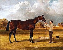 Herring Sr, Sir John Frederick - Sir Gilbert Heathcote's 'Amato' (By Velocipede) Winner of the Derby 1838, Oil on canvas, 17 x 21