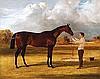 Herring Sr, Sir John Frederick - Sir Gilbert Heathcote's 'Amato' (By Velocipede) Winner of the Derby 1838, Oil on canvas, 17 x 21