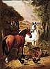 Herring Jr, John Frederick - Farm Yard Scene, Oil on prepared mill-board, 8 x 6