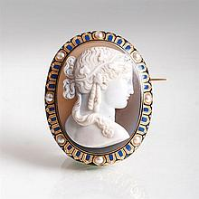 A Napoleon III cameo brooch 'Demeter' with seedpearls and enamel