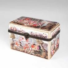 A grand porcelain casket in the style of Capodimonte