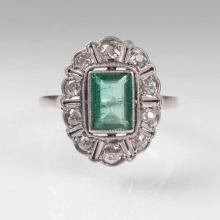 An Art Déco emerald diamond ring