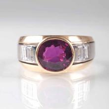 A diamond ring with a natural ruby