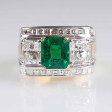 An excellent emerald diamond ring