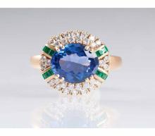A tansanite emerald diamond ring byJeweller Wempe