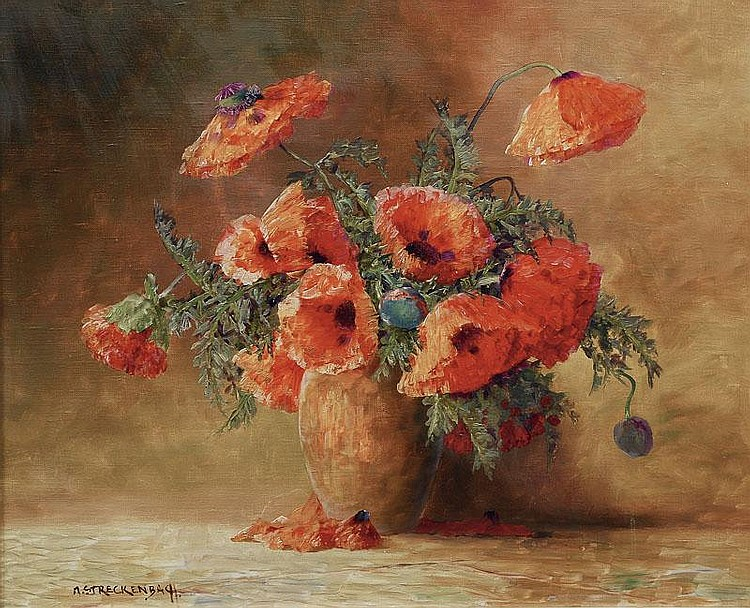 Streckenbach Max 1863 - 1936 A vase with flowers