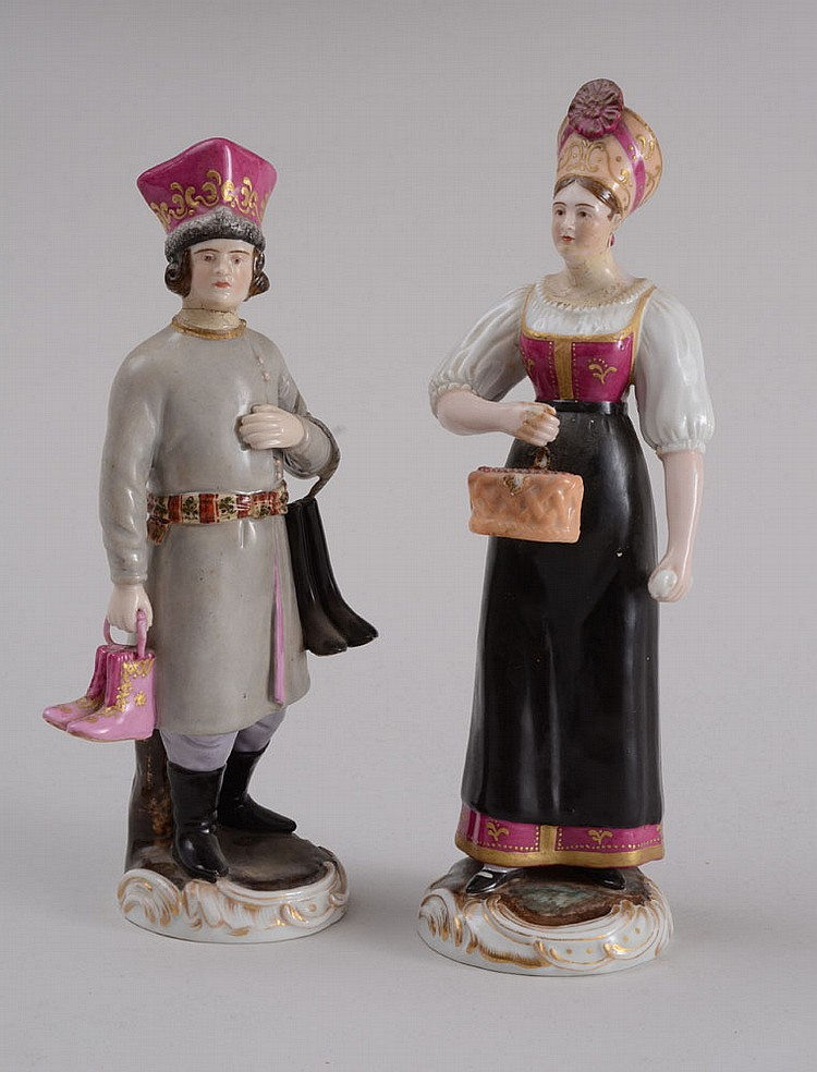 PAIR OF RUSSIAN PORCELAIN FIGURES,