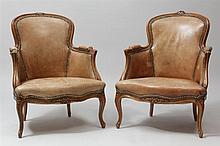 Pair of Louis XV Style Beechwood Bergères en Cabriolet