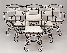 Group of Twelve Black Wrought-Iron Garden Armchairs