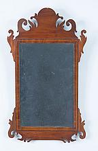 Chippendale Style Inlaid Mahogany Small Mirror
