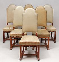 George Walton, Glasgow School: Set of Fourteen English Oak Arts and Crafts Dining Chairs