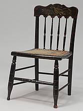 Federal Grain Painted, Stenciled and Caned Child's Chair