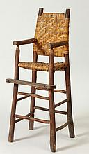 Rustic Pine and Reed Child's High Chair
