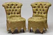 Pair of Victorian Style Mahogany and Tufted Damask Slipper Chairs