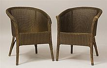 Pair of Brown-Stained Wicker Low Tub-Back Armchairs