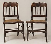 Pair of American Rococo Revival Mahogany Spindle-Back Side Chairs