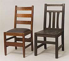 Stickley Oak Ladder Back Side Chair and a Slat-Back Chair