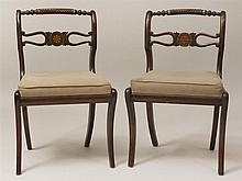 Pair of Regency Marquetry and Brass-Inlaid Mahogany Side Chairs, Possibly Irish