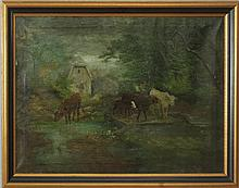 American School: Pastoral Scene with Cows