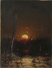 Attributed to Elisha Taylor Baker (1827-1890): Camping by Moonlight
