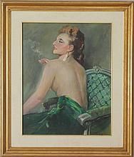 20th Century School: Woman in a Green Chair