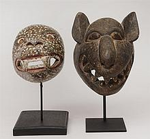 Two African Painted Wood Animal Masks