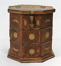 North African Brass-Mounted Wood Octagonal Storage Box