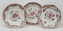 Pair of Chinese Export Porcelain Famille Rose Plates and a Single Octagonal Plate