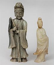 Two Chinese Carved Softstone Figures of Kwan Yin