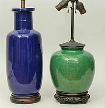 Two Chinese Porcelain Vases, Mounted as a Lamps