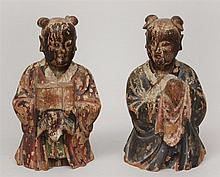 Pair of Chinese Carved and Painted Wood Half-Length Figures of Mourners