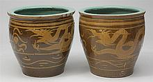 Two Similar Chinese Brown Glazed Terracotta Planters
