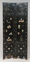 Pair of Chinese Black Lacquer and Mother-of-Pearl, Hardstone and Jade and Coral-Mounted Panels