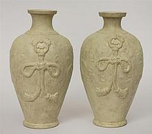 Pair of Chinese Pale Green-Painted Pottery Vases, Mounted for Lamps