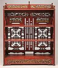 Chinese Cinnabar-Stained Bookcase