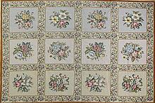 Modern Needlework Floral-Tile Carpet