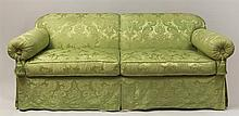 Chartreuse-Ground Upholstered Full-Sized Pull-Out Sofa