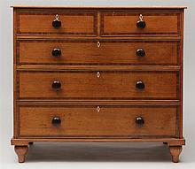 Victorian Mahogany Banded Oak Chest of Drawers