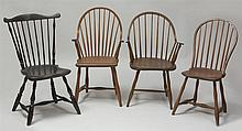 Two Windsor Armchairs, a Windsor Side Chair and a Black Painted Comb-Back Side Chair