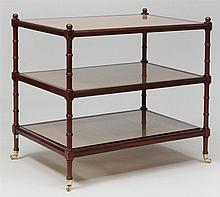 Regency Style Stained Mahogany and Caned Three-Tiered Side Table, 20th Century
