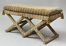 Baroque Style Striped Cut Velvet-Clad Double X-Form Banquette