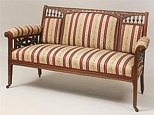 Aesthetic Movement Carved Mahogany Settee