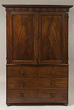 William IV Mahogany Linen Press