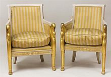 Pair of Empire Style Carved, Painted and Parcel-Gilt Bergères en Cabriolet