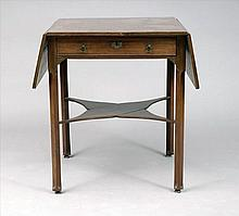 George III-Style Mahogany Drop-Leaf End Table with Drawer