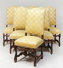 Set of Six Louis XIV Style Stained Fruitwood Dining Chairs